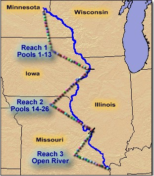 Select A Reach Upper Mississippi River - Map of illinois rivers