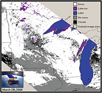 Snow and ice cover over Minnesota and Wisconsin and portions of adjacent areas during March of 2008. Courtesy of the U.S. Geological Survey.