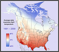 A pictorial display of maximum April temperatures from 1991-2000. Courtesy of the U.S. Geological Survey.